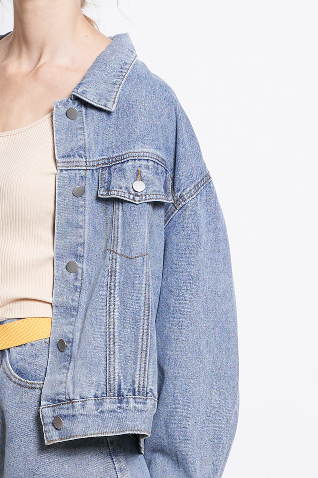 Oversize Boyfriend Denim Jacket - Blue