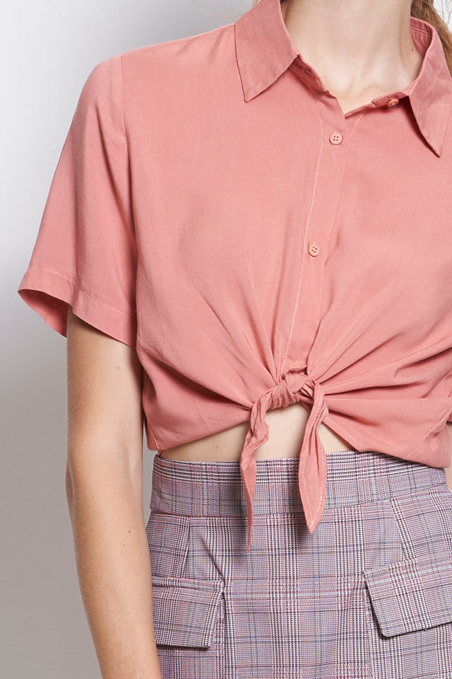 Women Checked Tied Front Short Sleeve Shirt - Pink - USF9F1793