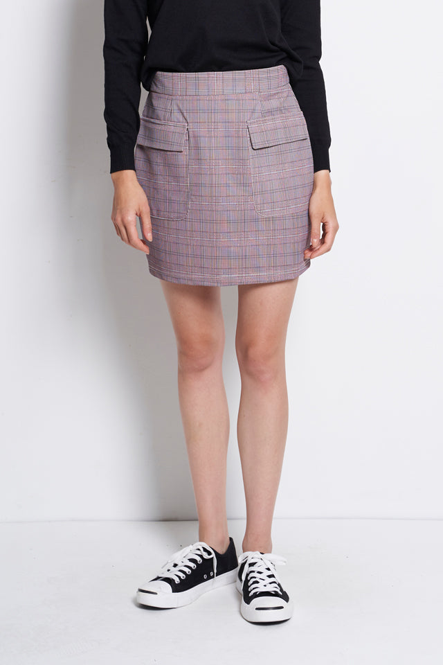 Checked Short Skirts With Front Pocket - Pink
