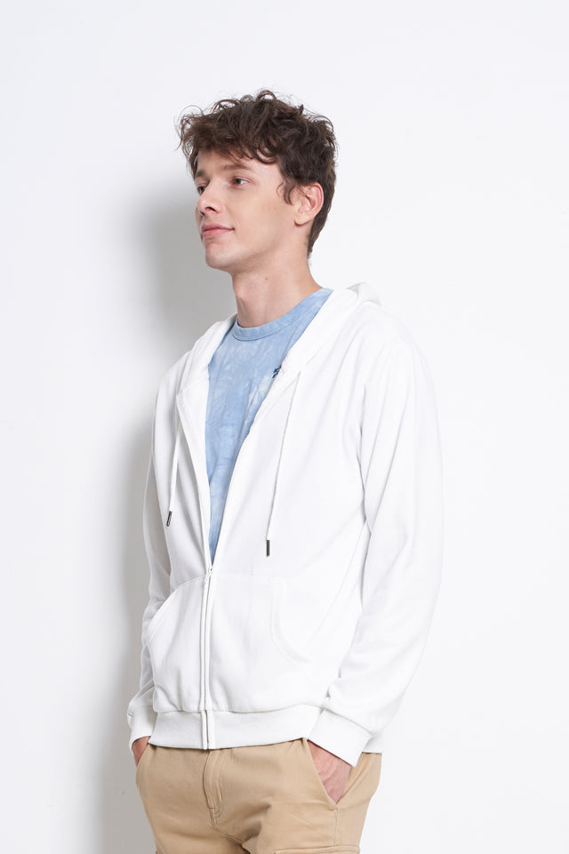 Plain Hoodie Jacket - Off White