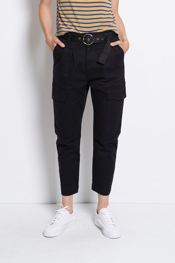Cargo Trouser With Front Pocket - Black