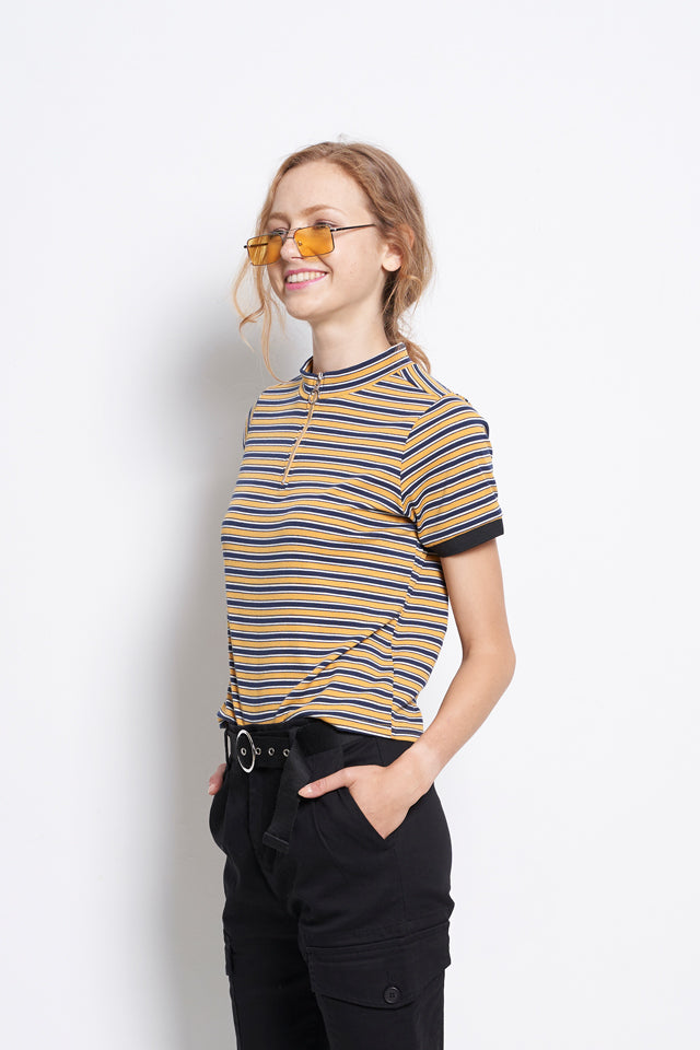Ribbed Short Sleeve Blouse With Front Zip - Yellow