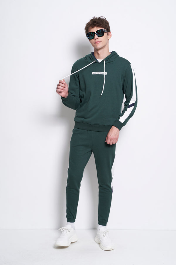 Sporty Hoodie Sweatshirt  - Dark Green