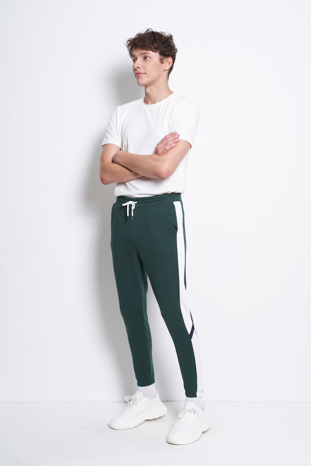 Cut And Sew Long Knit  Jogger - Dark Green