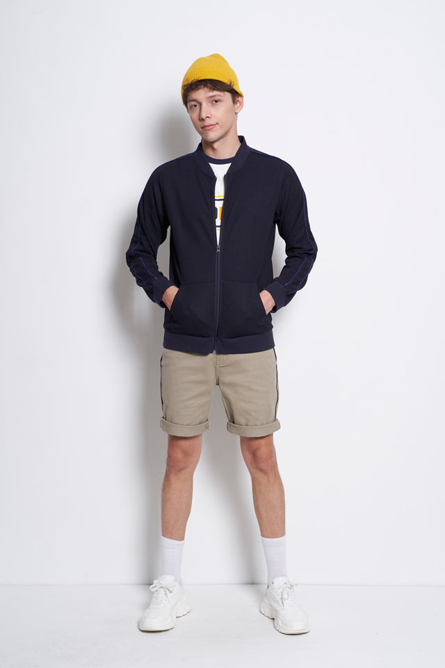 Men Bomber Jacket With Pocket  - Navy