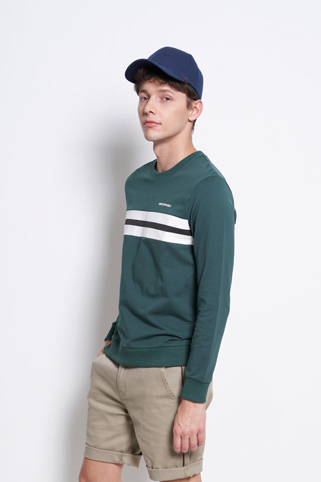 Cut & Sew Sweatshirt With Printed Stripe - Dark Green
