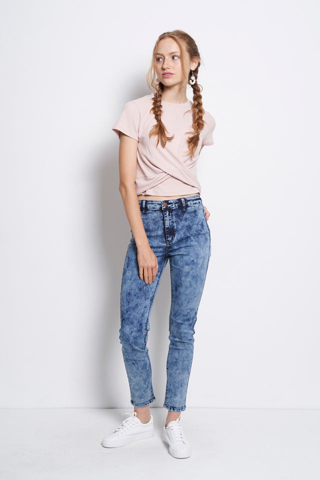 Washed Skinny Fit Long Jeans - Blue