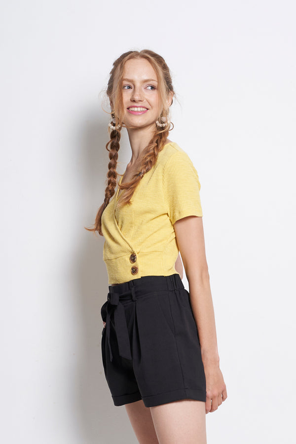 Front Overlap Short Sleeve Blouse - Yellow