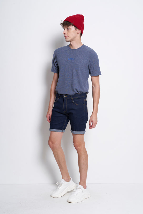 Slim Fit Short Jeans - Dark Blue