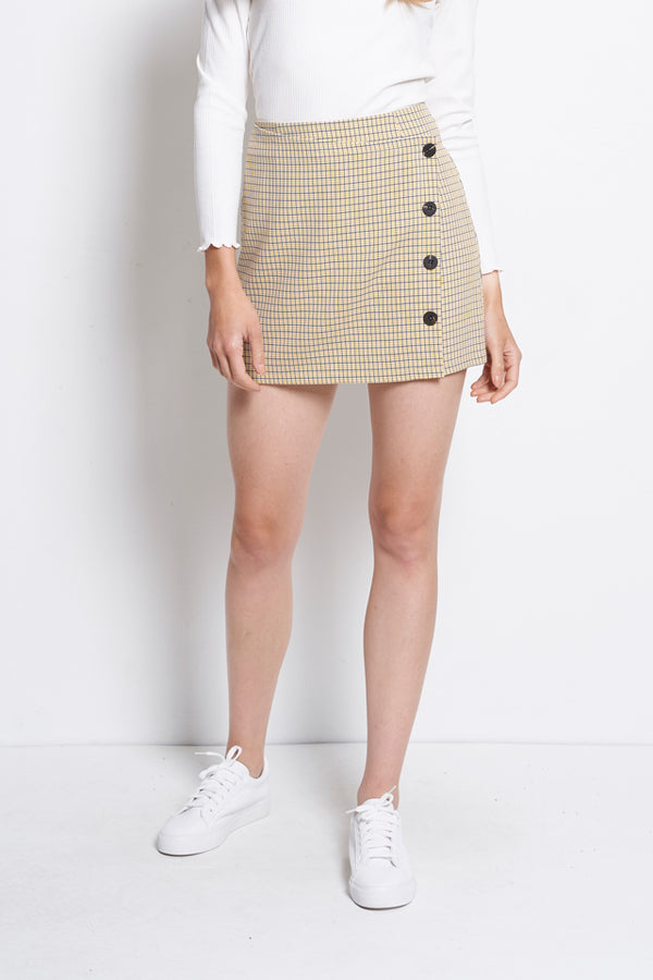 Checked Overlay Skort  - Yellow