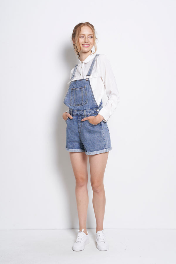 Short Denim Dungaree - Light Blue