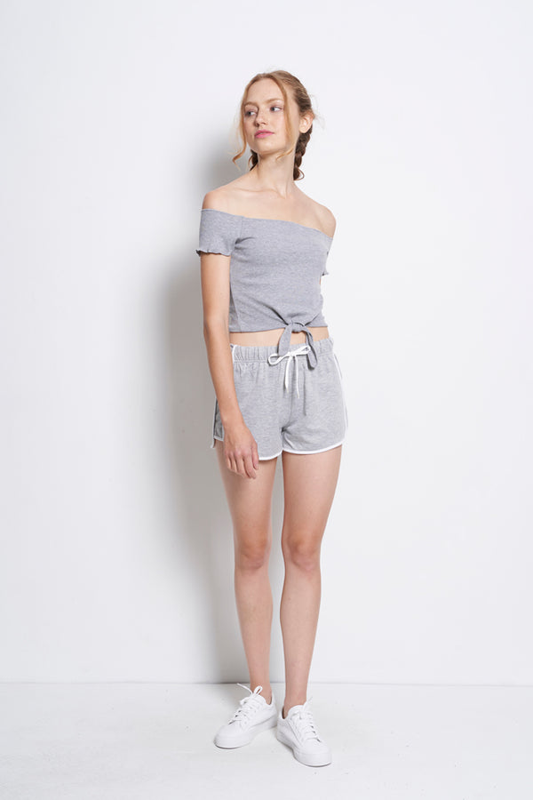 Women Off Shoulder Blouse With Tied Front - Grey