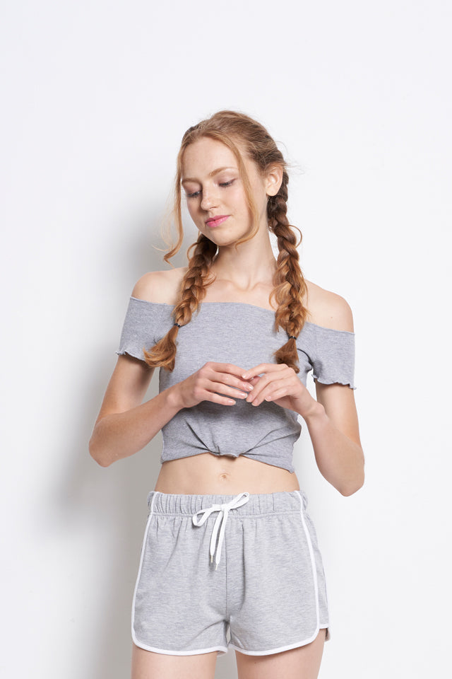 Women Off Shoulder Blouse With Tied Front - Grey - YBF9F1773