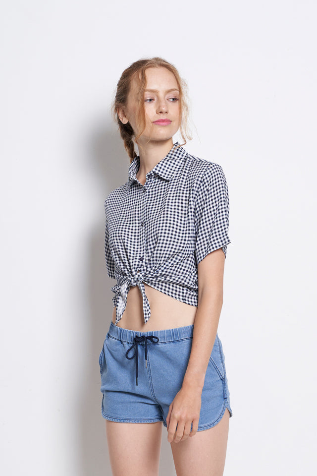 Women Checked Tied Front Short Sleeve Shirt - Navy