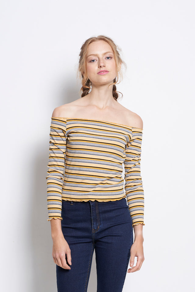 Women Off Shoulder Stripe Long Sleeve Blouse - Yellow