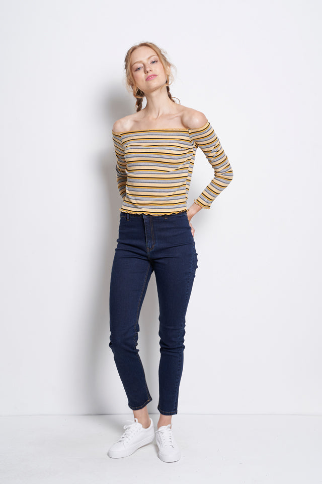 Off Shoulder Stripe Long Sleeve Blouse - Yellow