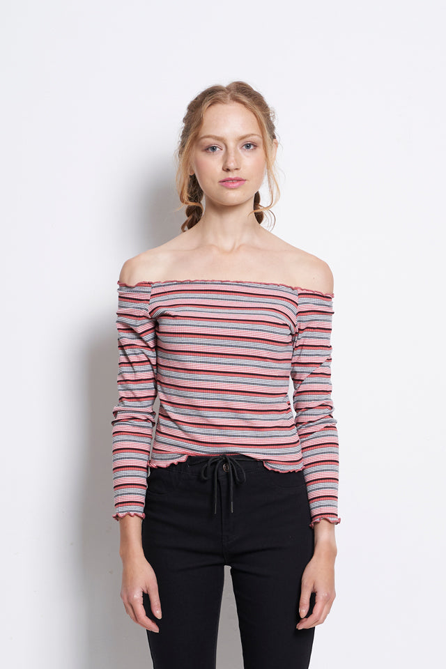 Women Off Shoulder Stripe Long Sleeve Blouse - Dark Pink