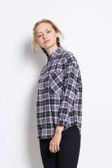 Checked Long Sleeve Shirt - Purple