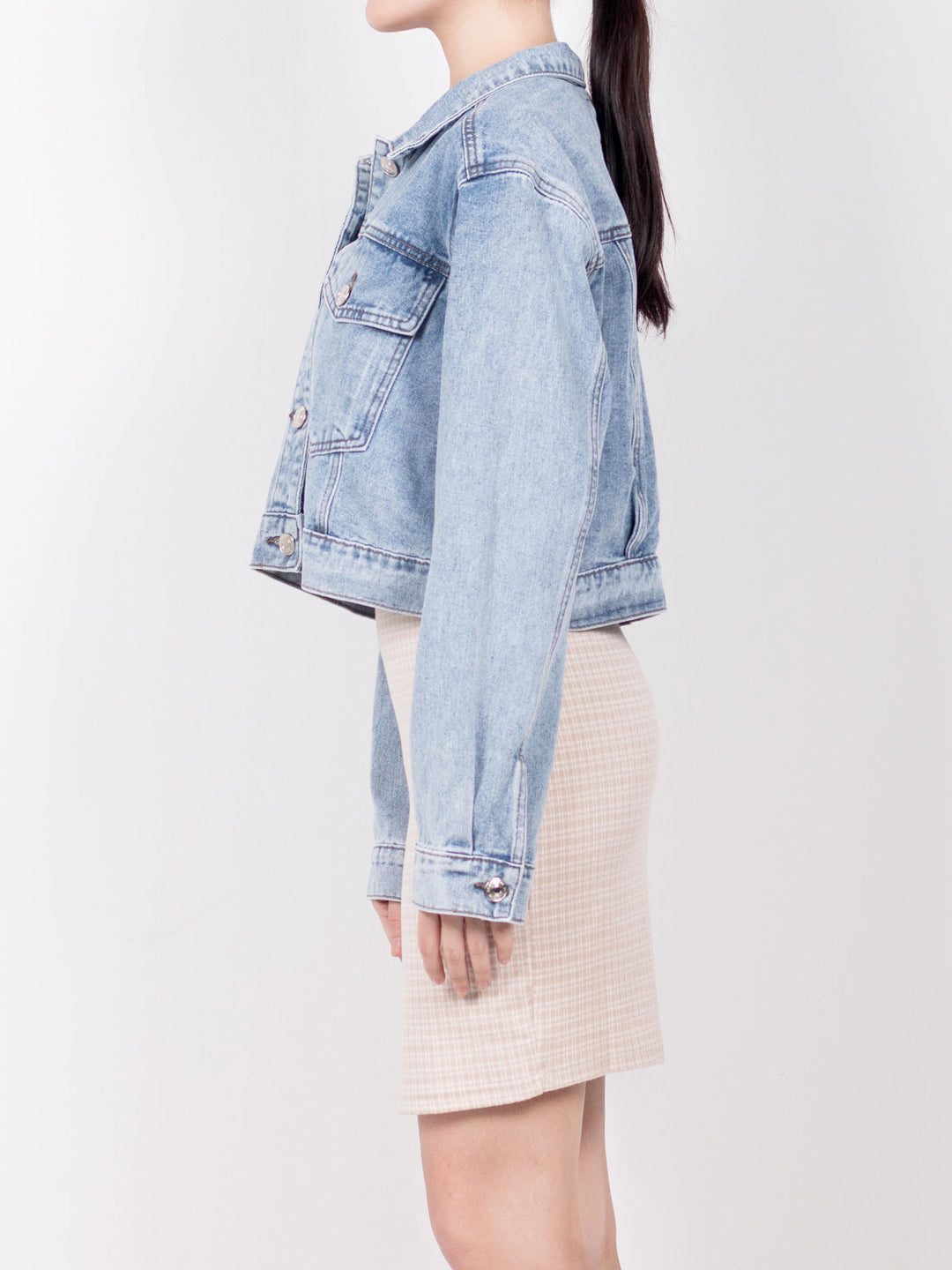 Women Boyfriend Denim Jacket - Blue