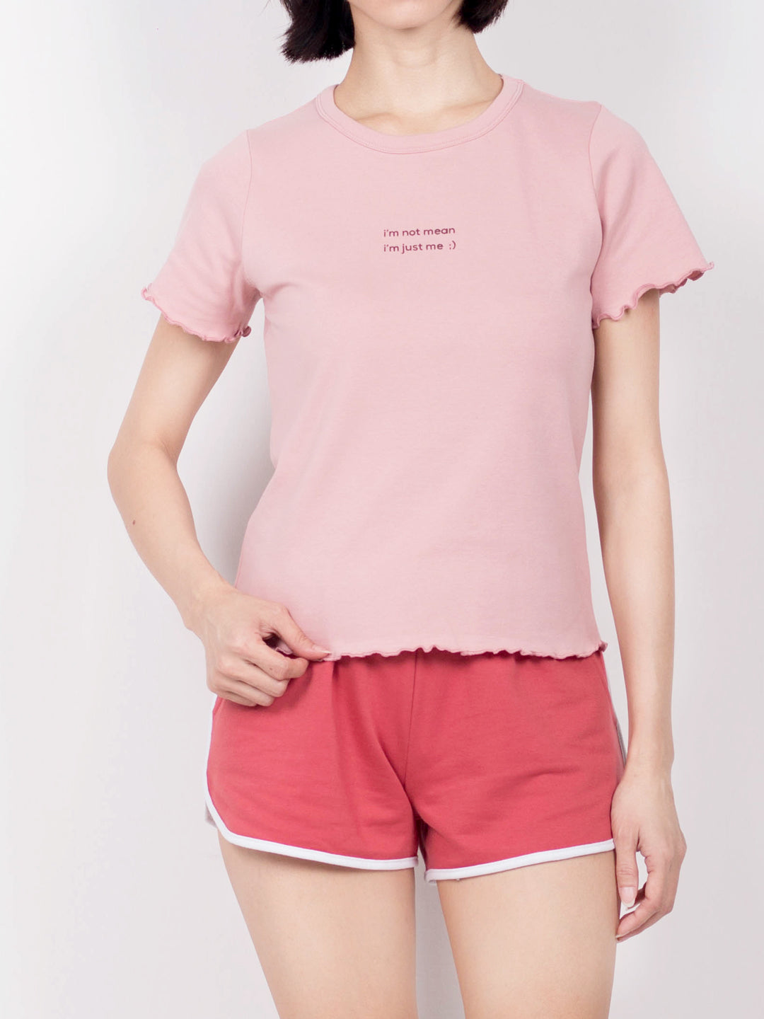 Women Short Sleeve Ribbed Blouse  - Dark Pink