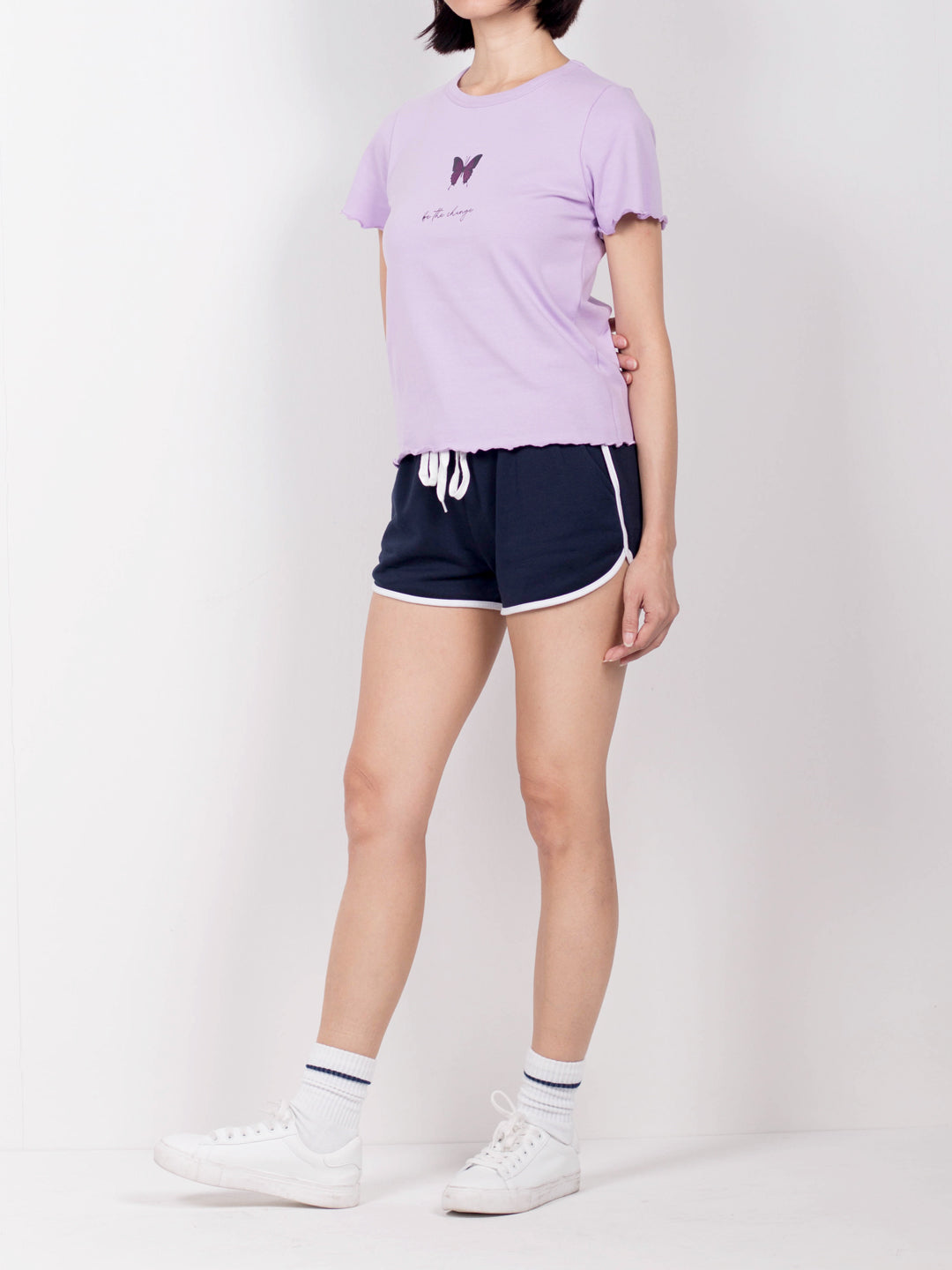 Women Short Sleeve Ribbed Blouse  - Purple