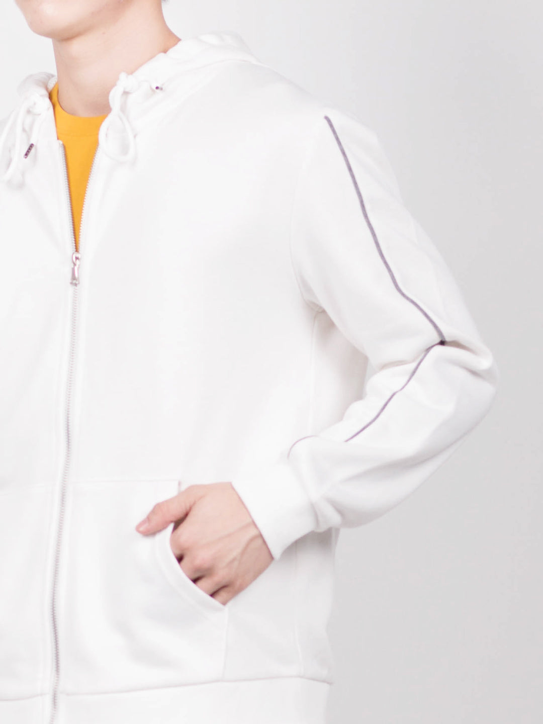 Men Stripe Hoodies Jacket  - White