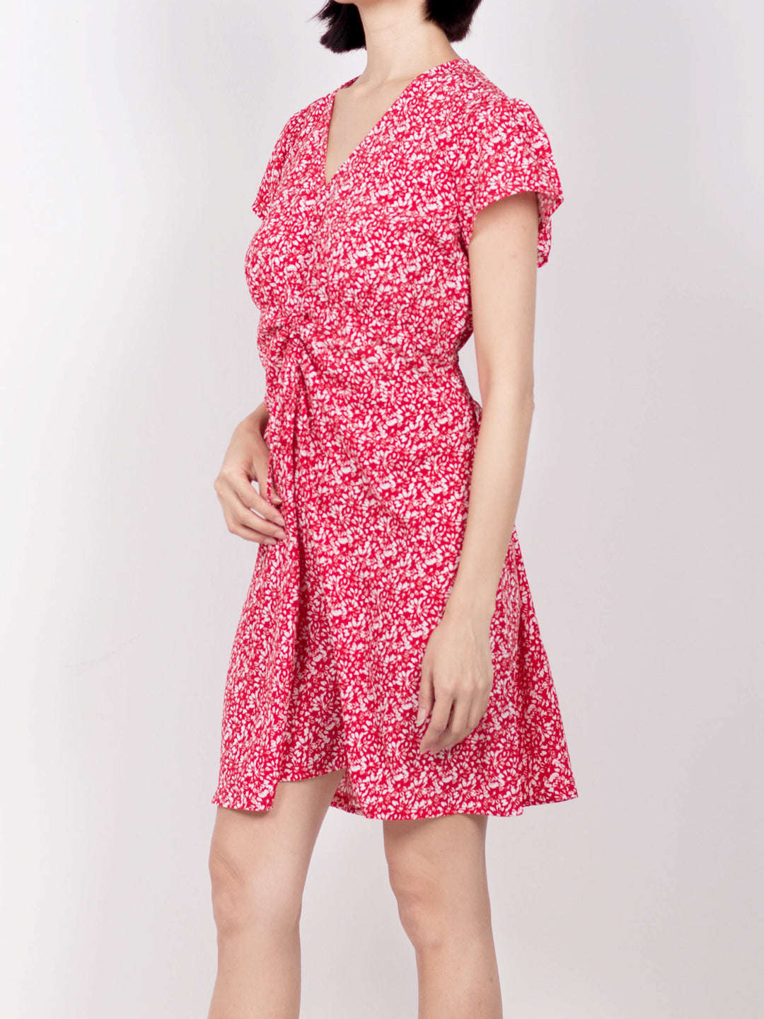 Women Floral Short Sleeve Dress - Red - USH20F2303