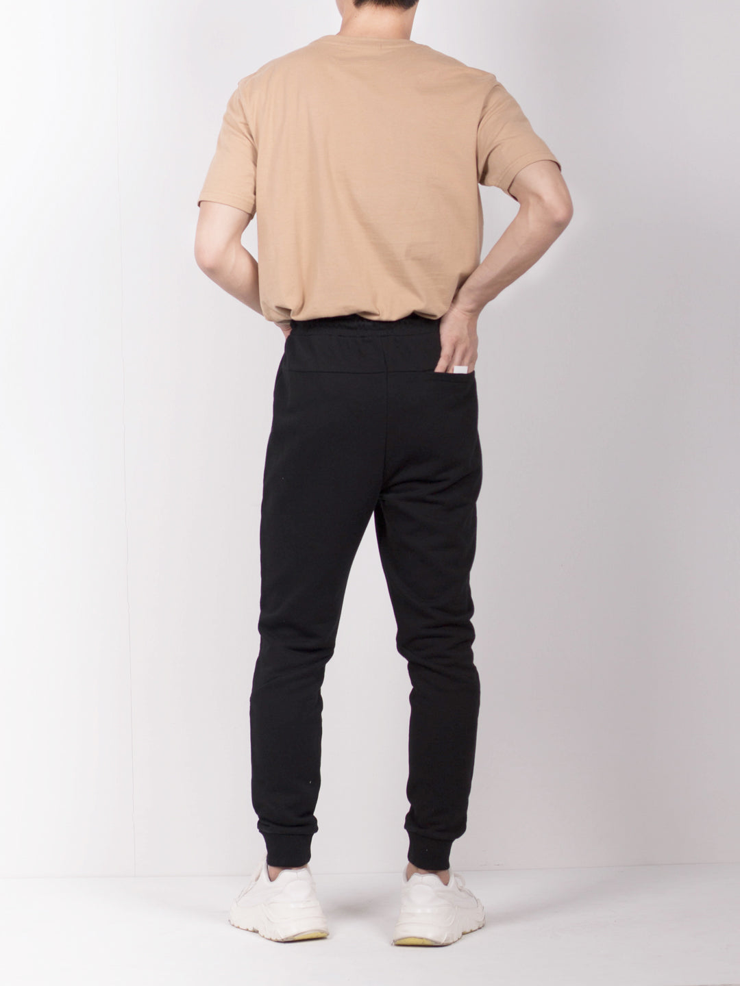 Men Long Knit Jogger - Black