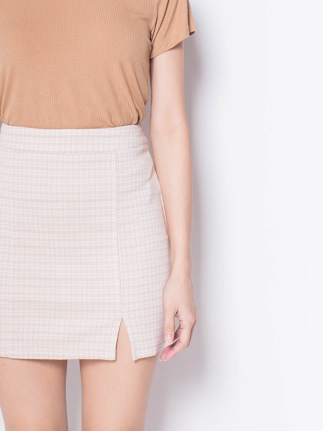 Women Plaid Split Hem Skirt - Khaki