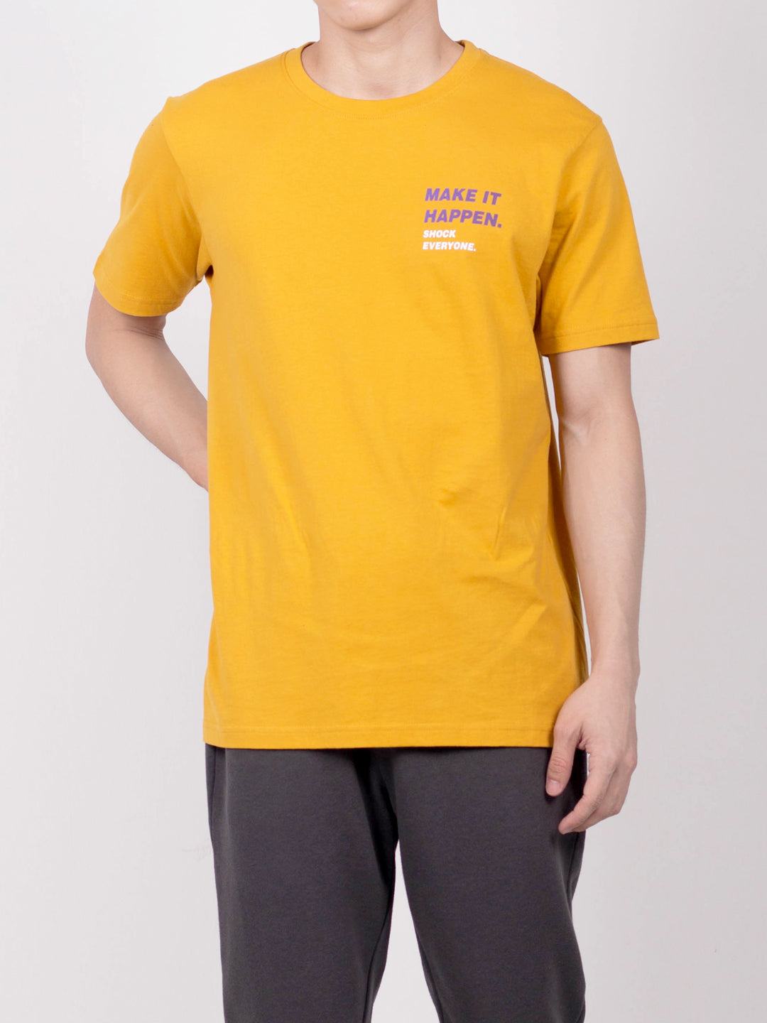 Men Slogan Short Sleeve T-Shirt - Yellow - RFH20H2692