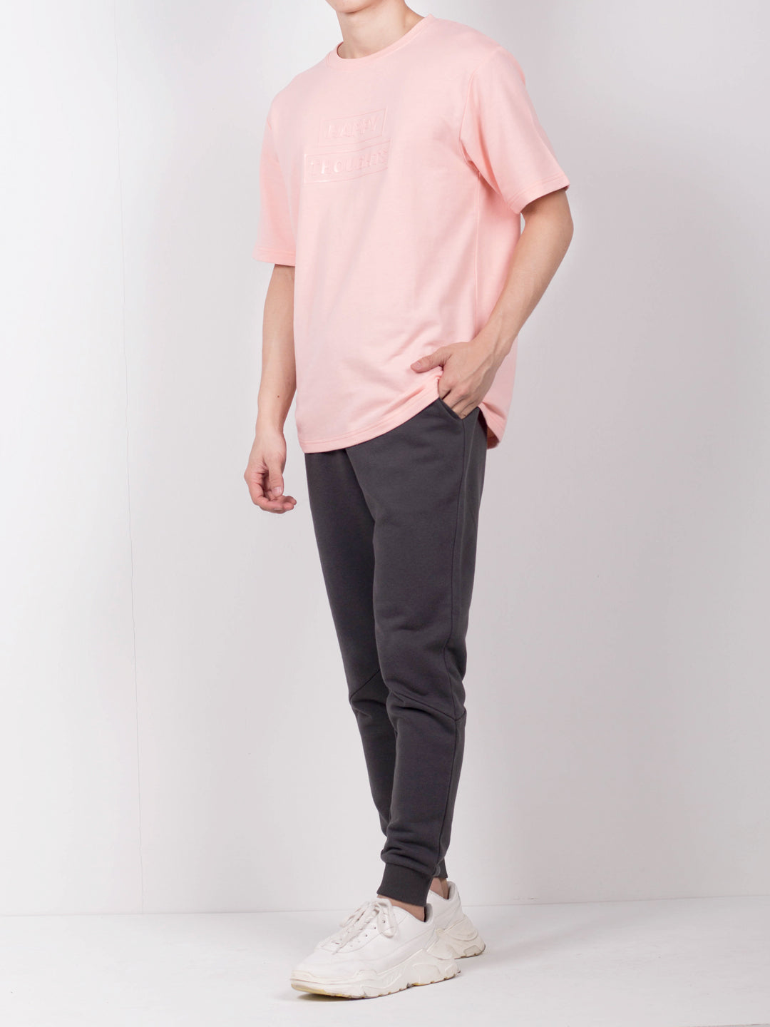 Men Oversize Fashion Short Sleeve Tee  - Pink