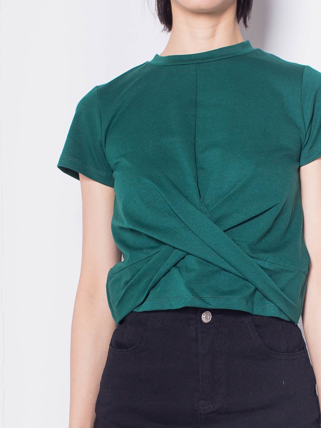 Women Twist Front Short Sleeve Blouse - Green