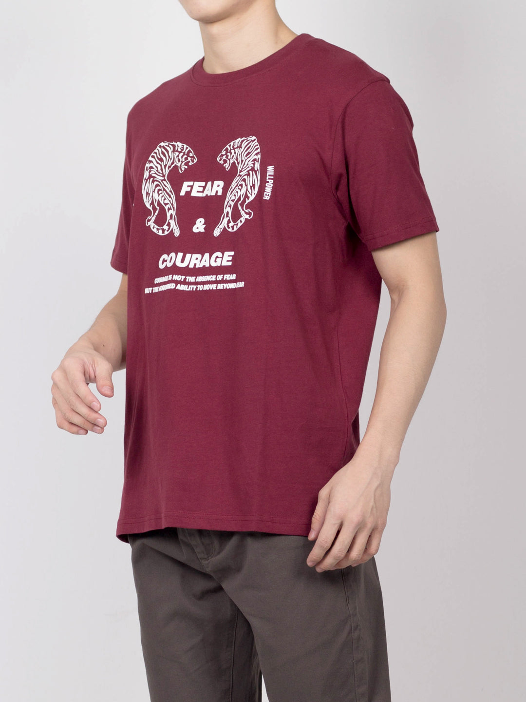 Men Tiger Printed Short Sleeve T-Shirt - Maroon - RFH20H2427