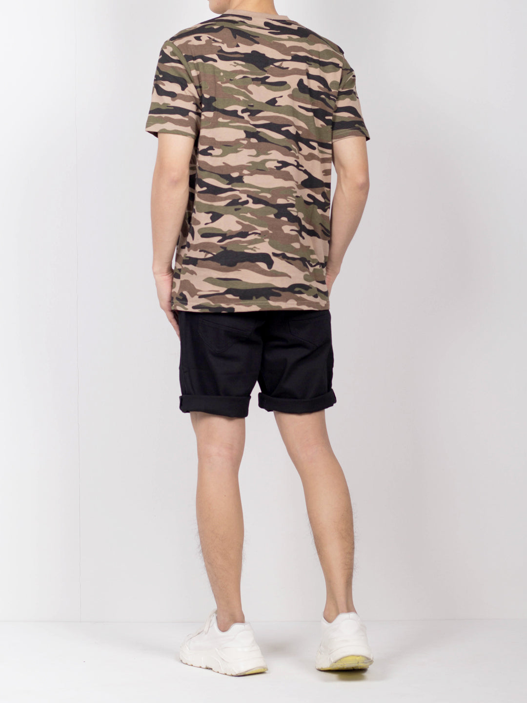 Men Short Sleeve Camouflage Graphic Tee - Khaki