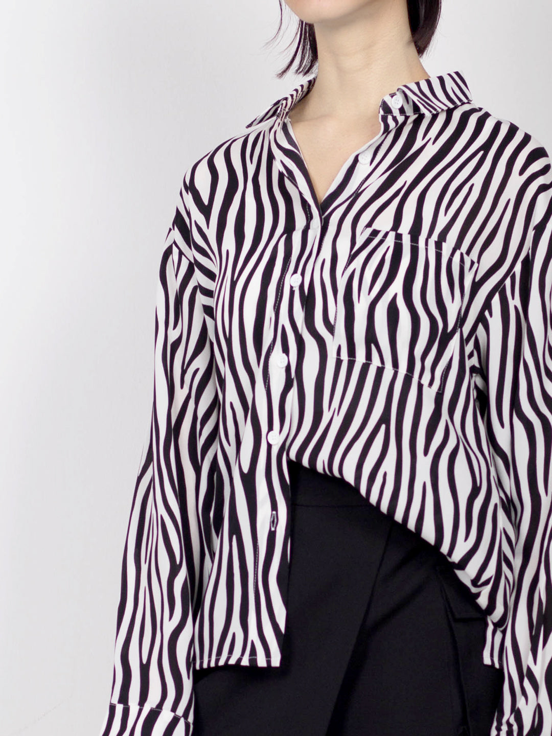 Women Zebra Printed Long Sleeve Shirt - Black - YBF20F2229