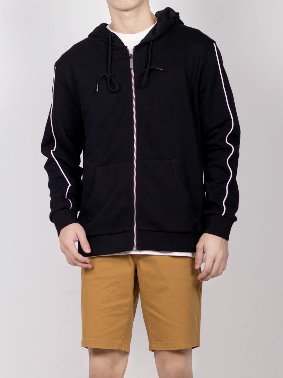 Men Stripe Hoodies Jacket  - Black - CPH20H2661