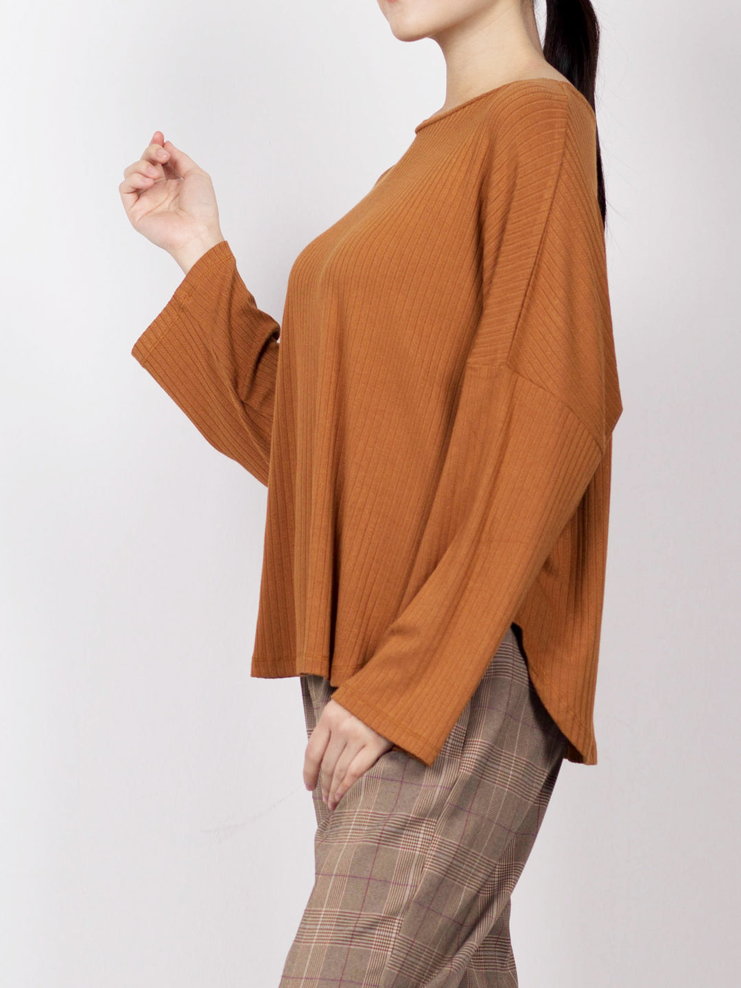 Women Knit Long Sleeve Blouse - Brown - YCH20F2266