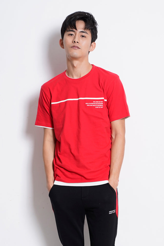 Men Graphic Short Sleeve T-Shirt - Red