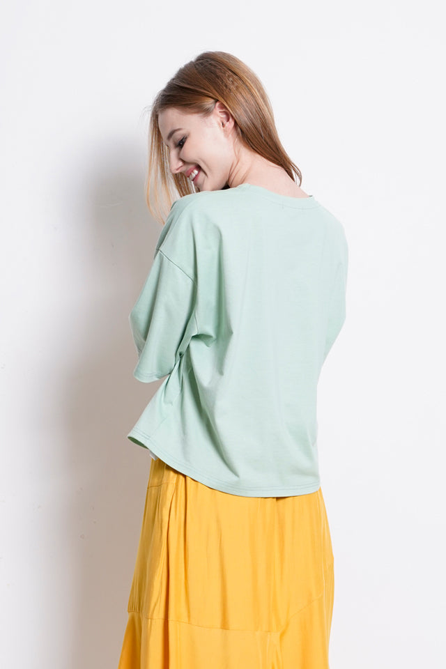 Knit Short Sleeve Blouse - Green