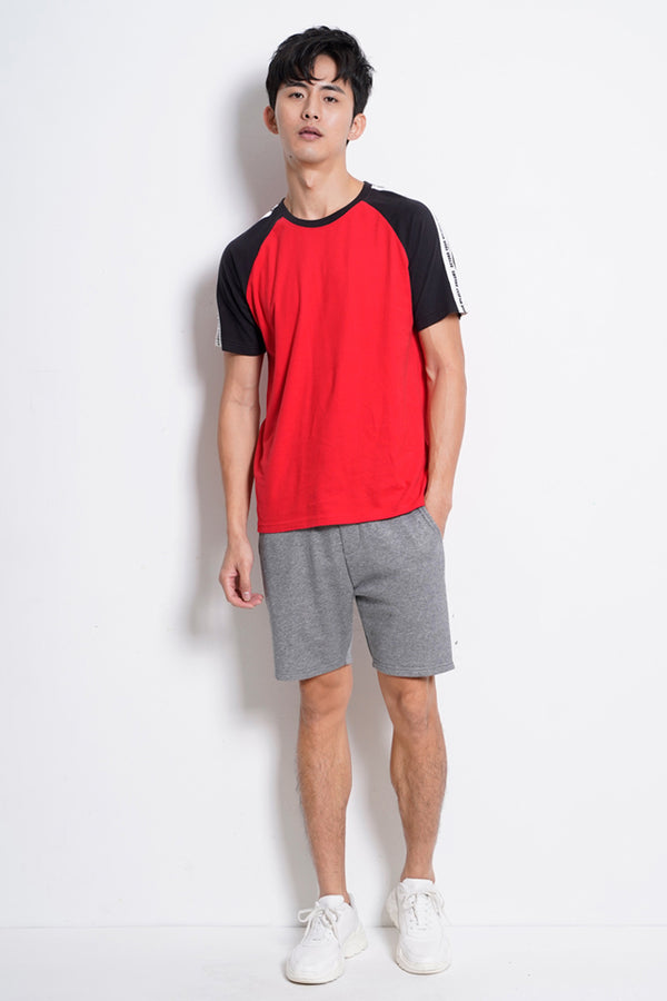 Raglan Short Sleeve T-Shirt - Red