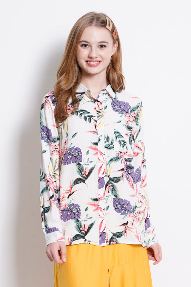 Women Graphic Long Sleeve Shirt - White - YCS20F2073