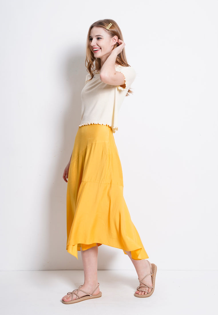 Flared Long Skirt  - Yellow