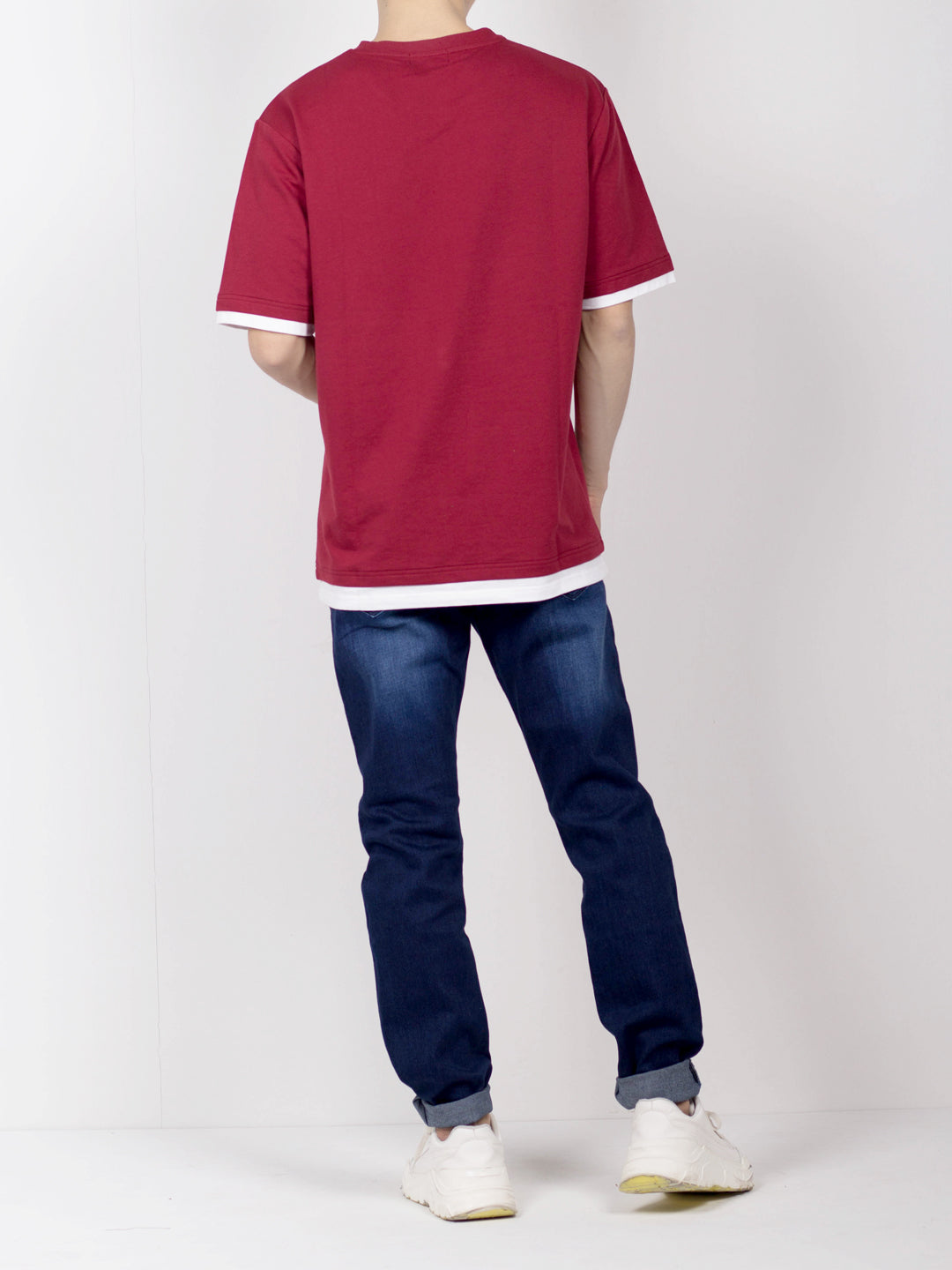 Men Oversize Fashion Short Sleeve Tee  - Maroon - CPH20H2645