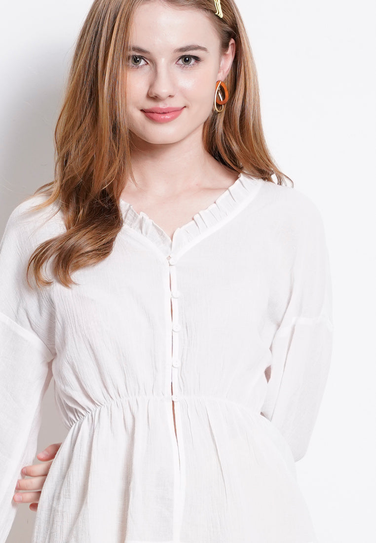 Woven Long Sleeve Blouse - White