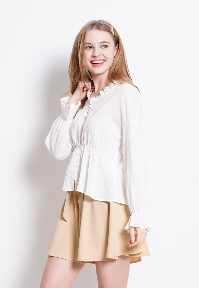 Women Woven Long Sleeve Blouse - White