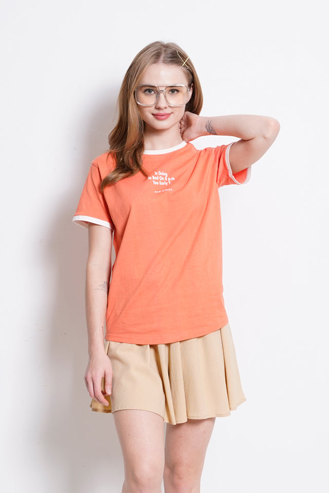 Women Graphic Short Sleeve T-Shirt - Coral