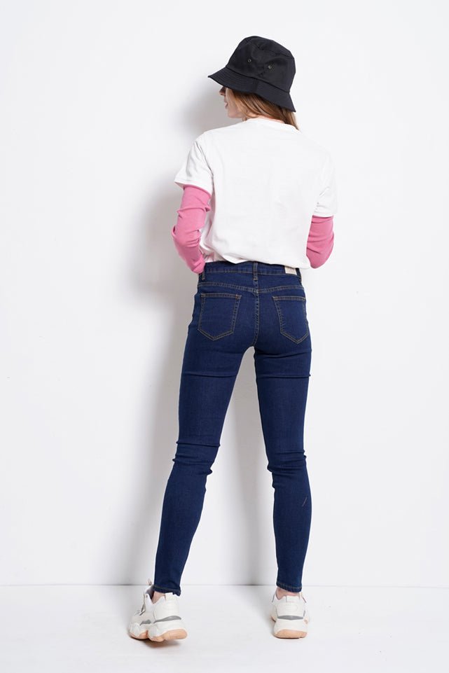 Women Slim Fit Long Jeans - Blue