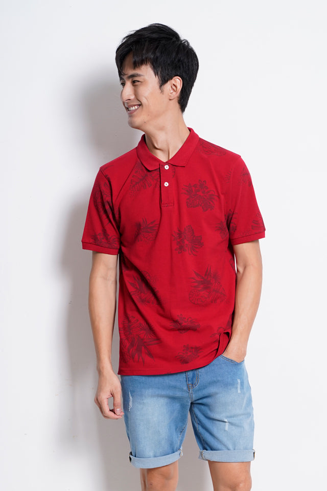 Short Sleeve Polo Tee - Red