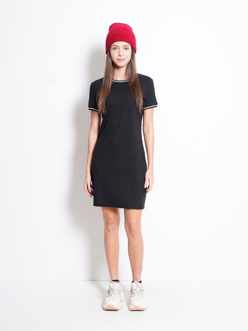 Ribbed Tee Dress - Black