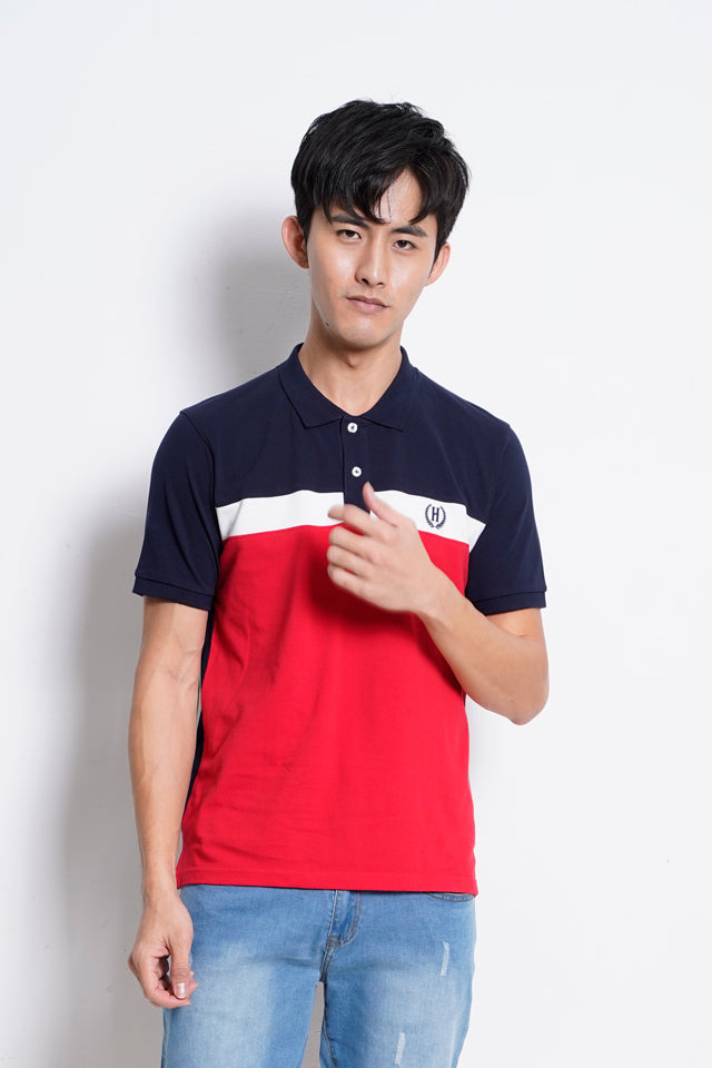 Men Cut & Sew Polo Tee - Navy